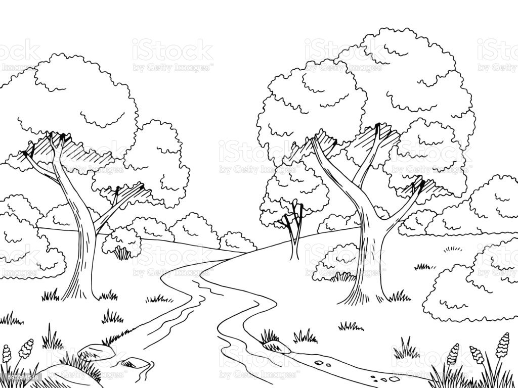 River Scenery Clipart Coloring Page