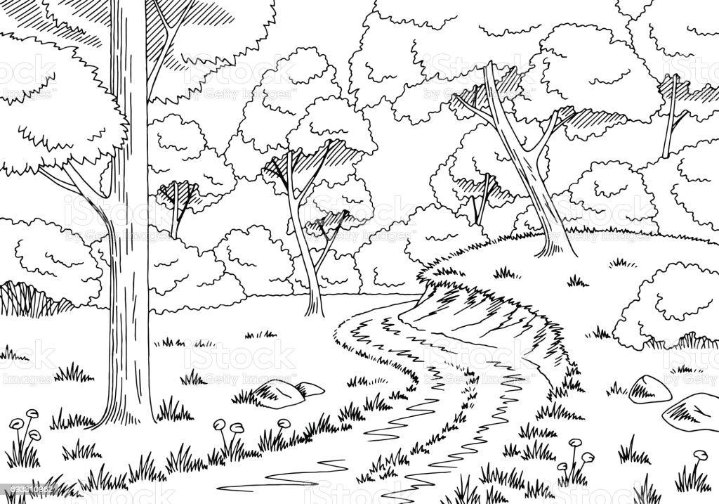 Vetores De Floresta Estrada Gráfico Preto Branca Paisagem