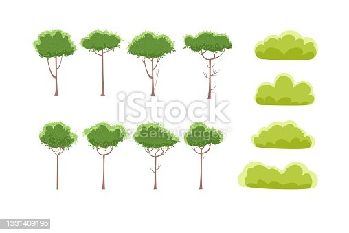 istock Forest road. Summer landscape. Dense foliage. Views of hills and green trees. Cartoon flat style. Light foggy thickets. Nature illustration. Trunks of trees. Vector 1331409195