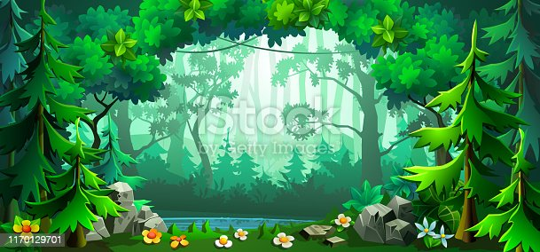 Forest scene with deciduous trees and firs around. Panorama cartoon forest. Vector illustration.