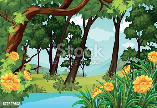 istock Forest scene with trees and pond 679727602