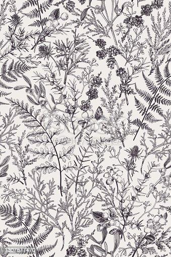istock Forest seamless pattern. B&W 1307877470