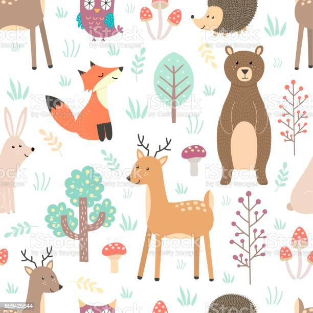 Forest seamless pattern with cute animals vector id859425644?b=1&k=6&m=859425644&s=612x612&h=y9nc8jq0yzgctqixdjrzios6b5q7hxthx4p4llokqa4=