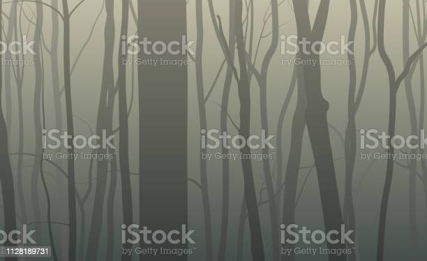 Forest Silhouette Background - Arte vetorial de stock e mais imagens de Abstrato