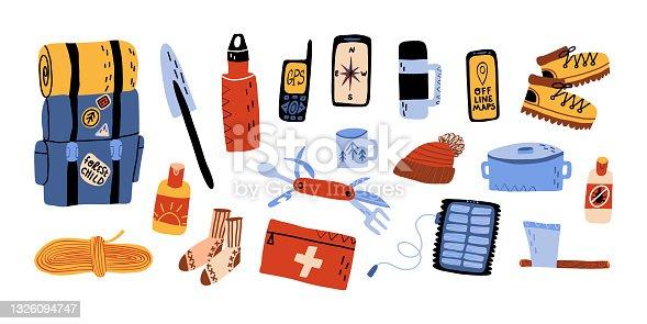 Turismo florestal, férias ao ar livre, camping, trekking devem ter definido. Mochila com saco de dormir, protetor solar, pá, faca suíça, carregador de bateria solar, térmica, gps, bússola e mapas offline etc.