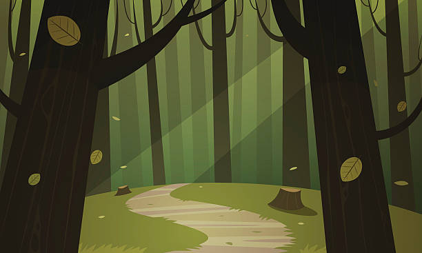 Forest Trail Cartoon illustration of the forest with trail. woodland stock illustrations