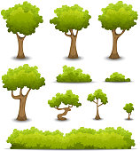 Vector illustration of a set of cartoon spring or summer forest trees and other green forest elements, bonsai, foliage, bush and hedges. File is EPS10 and uses multiply transparency on shadows and overlay transparency on gradient contrast effect. Vector eps and high resolution jpeg files included