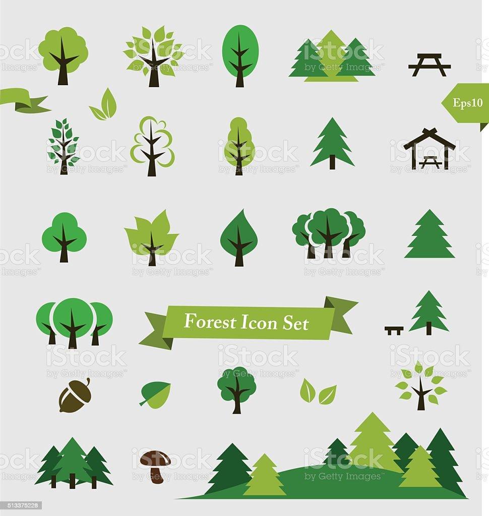 Wald/Bäume Symbol-set Vektor-illustration – Vektorgrafik