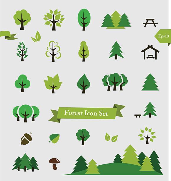 林産/木アイコンセットベクトルイラストレーション ベクターアートイラスト