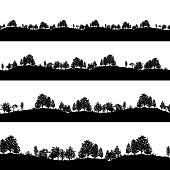 Deciduous trees silhouettes backgrounds vector illustration. Set of horizontal abstract banners of wood covered hills in black and white.