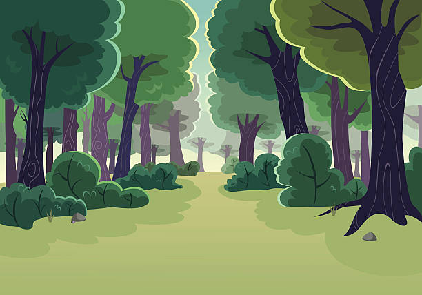 Forest Cartoon of a forest woodland stock illustrations