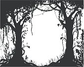 thicket, deep fairy forest silhouette, jungle shadows