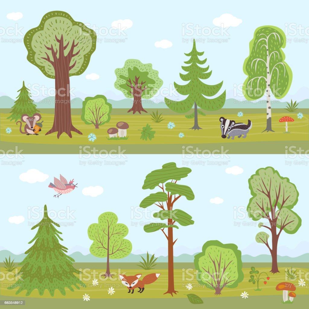 Ilustración De Conjunto De Paisajes De Bosque Vector Panorama De