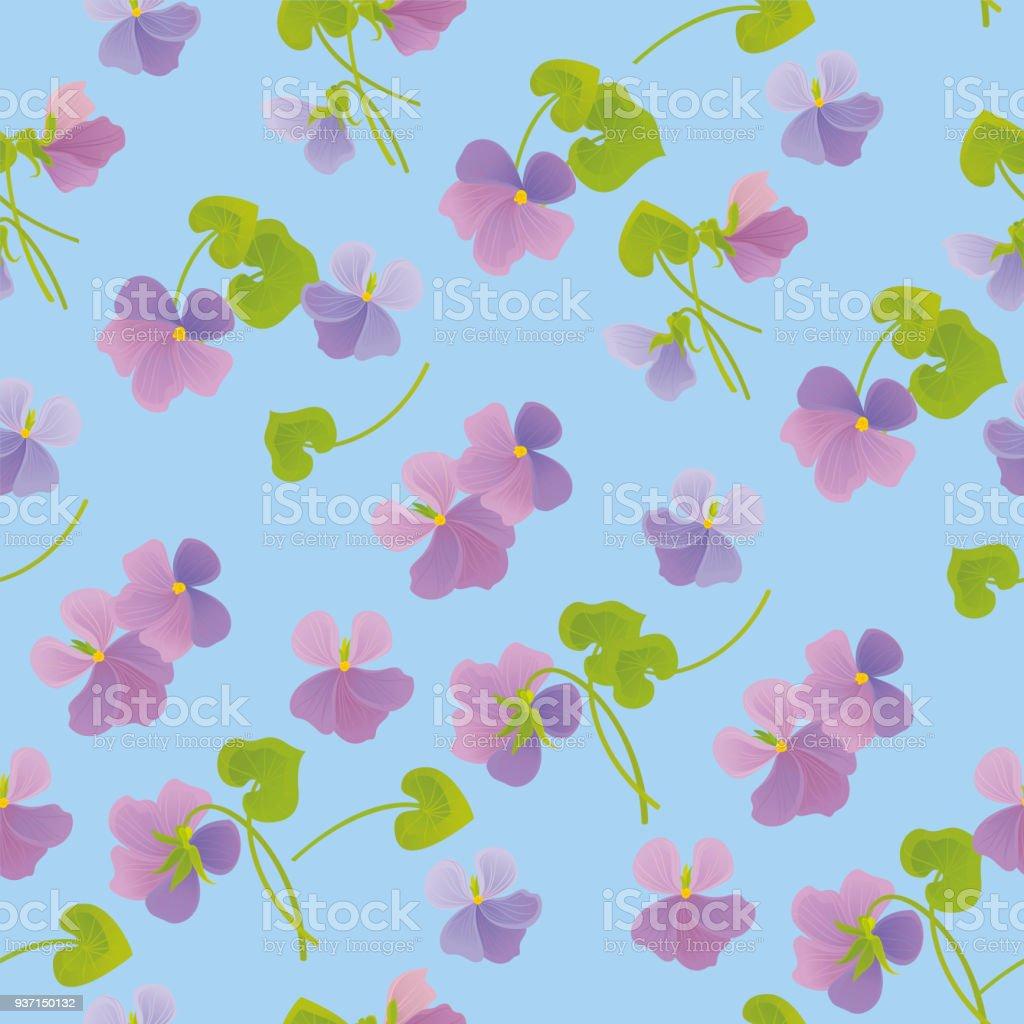 Forest Violets. Spring Floral Pattern. royalty-free forest violets spring floral pattern stock vector art & more images of art