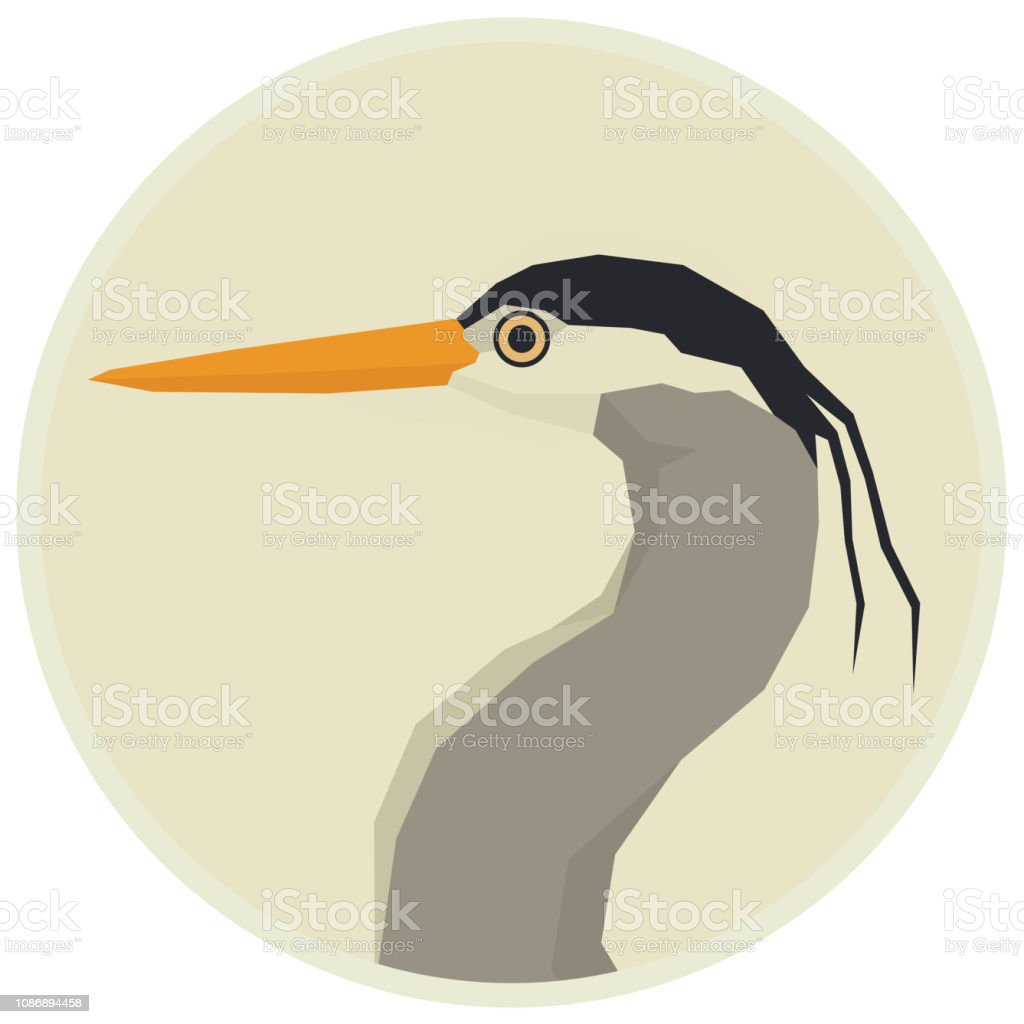 Forest Wild Life Isolated vector animals Geometric Great blue heron Rounde frame vector art illustration