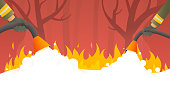 Forest wildlife fire. Firefighters fight a nature fire disaster vector cartoon illustration