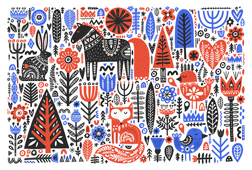 Forest wildlife in folk style flat vector illustration