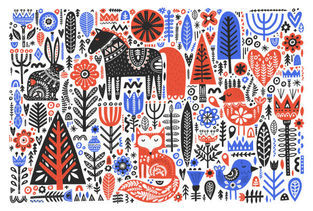 Forest wildlife in folk style flat vector illustration Forest wildlife in folk style flat vector illustration. Wild animals with Scandinavian floral decoration. Cute hare, fox, bird, horse with nordic ornate symbols. Postcard, banner, textile print scandinavian culture stock illustrations
