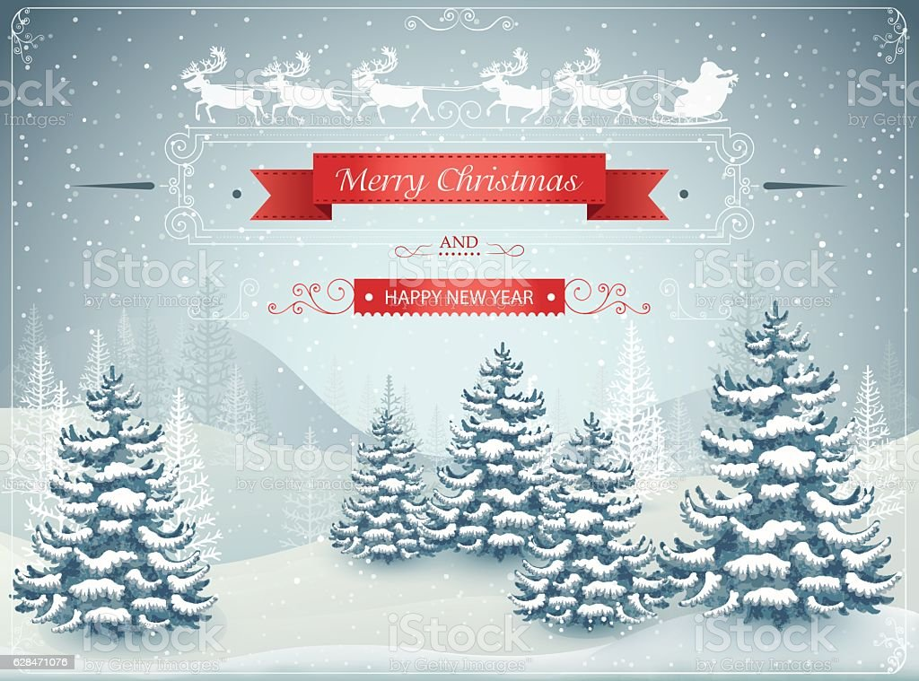 Forest winter landscape with snowfall vector art illustration