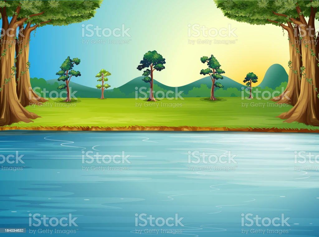forest with a river vector art illustration