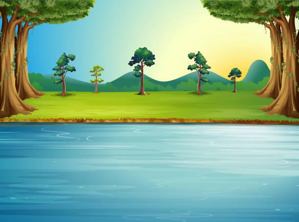 임산, 강은요 - 강둑 stock illustrations