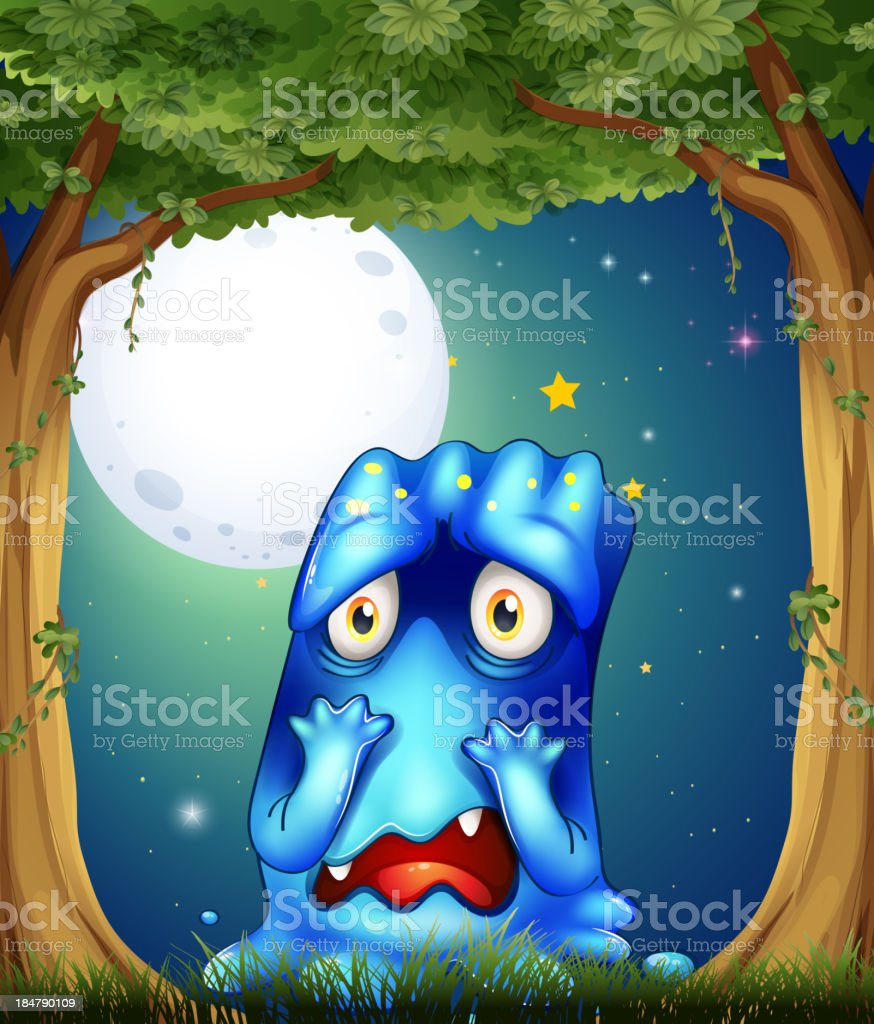 forest with a sad blue monster royalty-free forest with a sad blue monster stock vector art & more images of alien