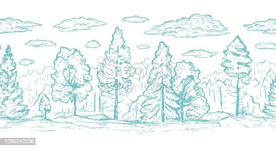 Forest with clouds hand drawn graphic seamless vector sketch border. Fir trees and deciduous trees in blue color. Horizontal seamless border in blue color. Wrapping paper, print, page fill, web design, wallpaper, cover