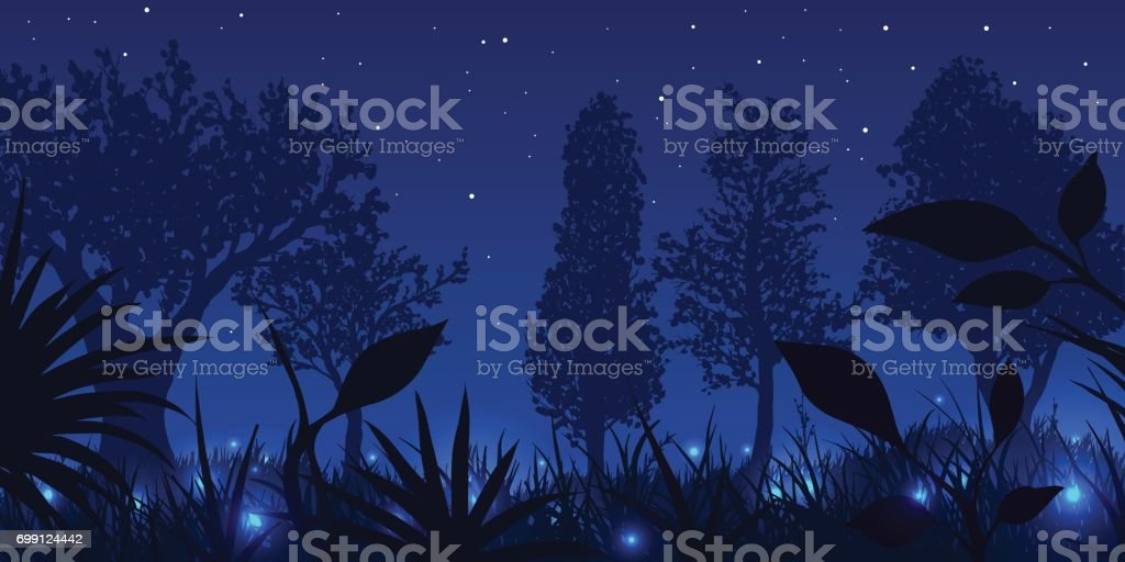 Forest with glowing fireflies at night. Vector illustration. vector art illustration