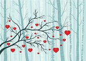 Cartoon forest with hearts hung on branches