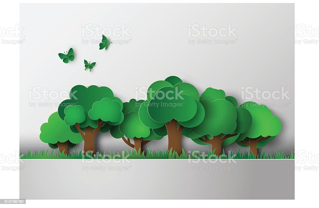 forest with trees and grass. vector art illustration