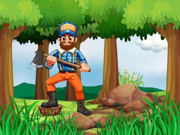 illustrations, cliparts, dessins animés et icônes de forêt avec woodman tenant une hache - man axe wood