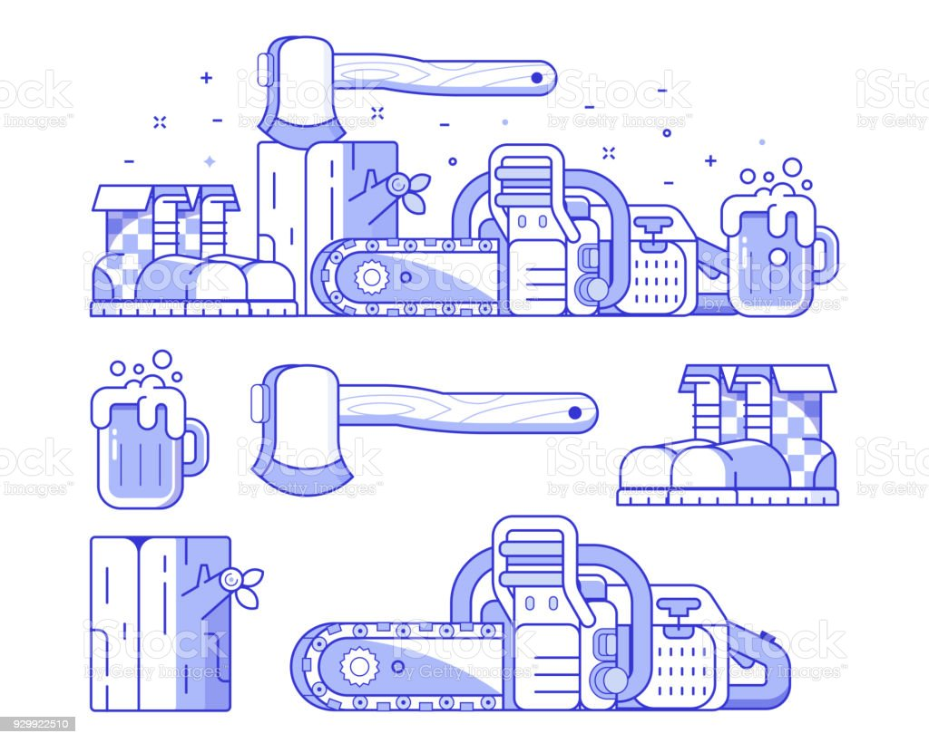 Forestry and Sawmill Icon Set vector art illustration