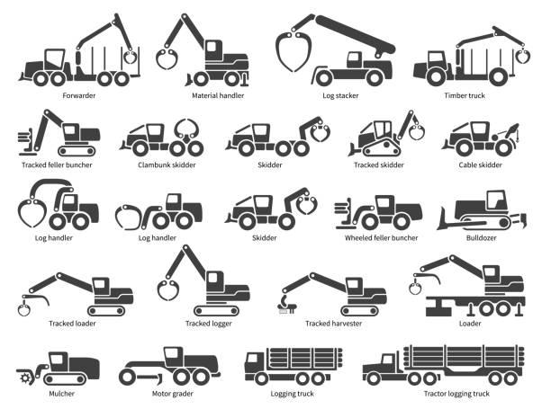 illustrazioni stock, clip art, cartoni animati e icone di tendenza di forestry machinery vector icons set - industria forestale