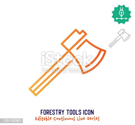 istock Forestry Tools Continuous Line Editable Stroke Line 1251102921