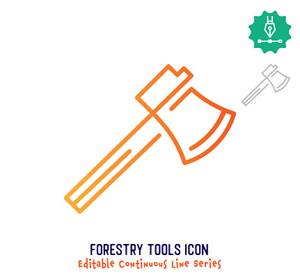 Forestry Tools Continuous Line Editable Stroke Line