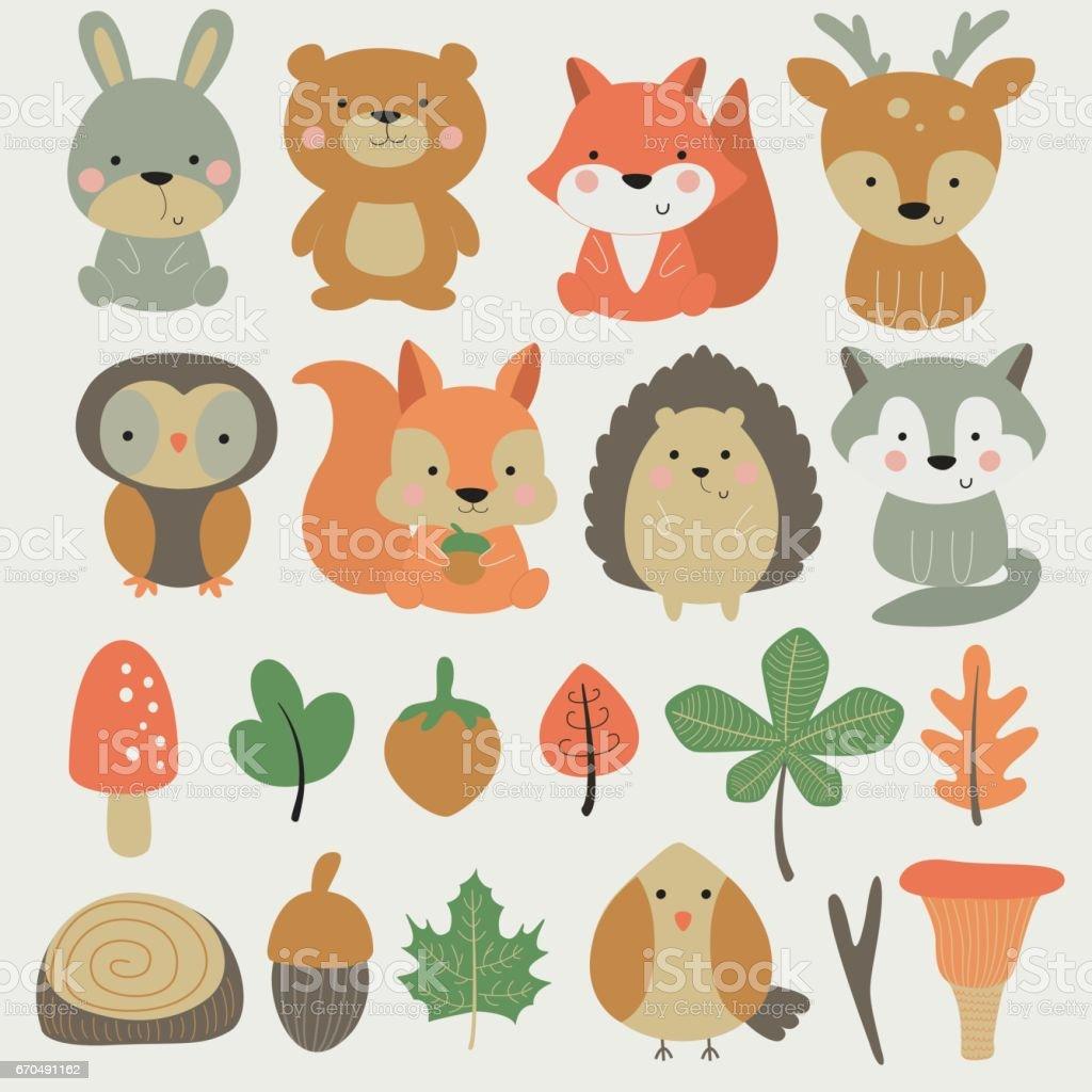 forestsmallanimalset - ilustração de arte em vetor