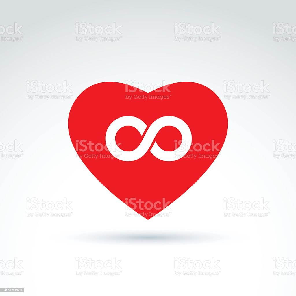Forever Love Concept With Heart And Infinity Symbol Vector Icon