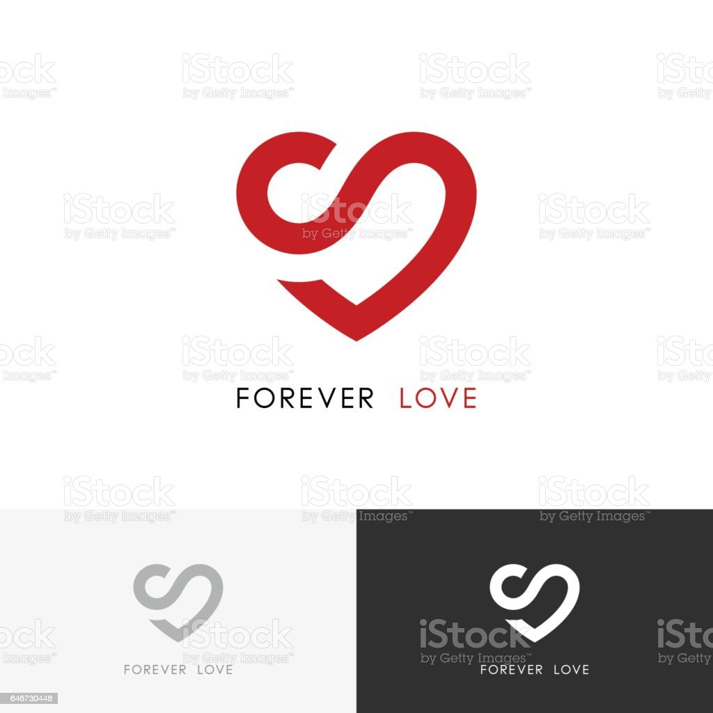 Forever Love Red Heart And Infinity Symbol Stock Vector Art More