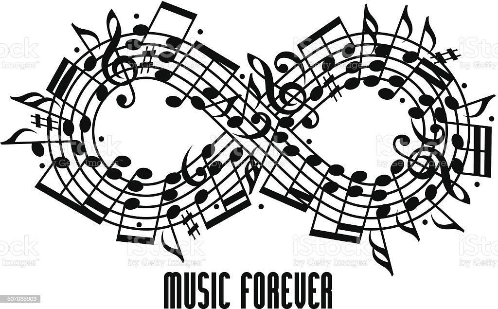 Forever music concept. vector art illustration