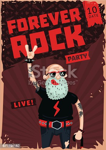 istock Forever Rock. Old school music. Funny poster 671594182
