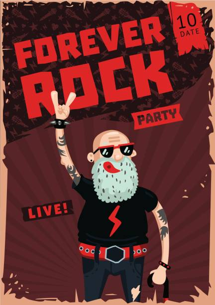 Forever Rock. Old school music. Funny poster Vintage poster with senior man. Heavy metal illustration one senior man only illustrations stock illustrations