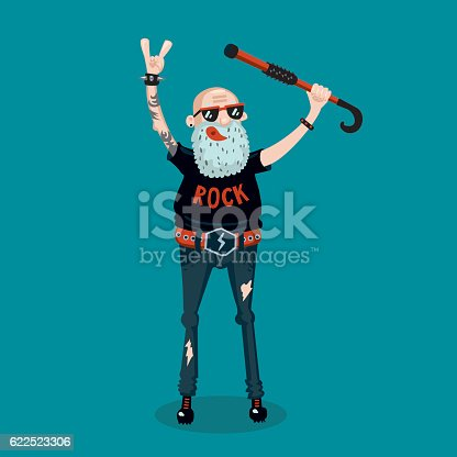 istock Forever young. Funny old rock fan. Active senior man. 622523306