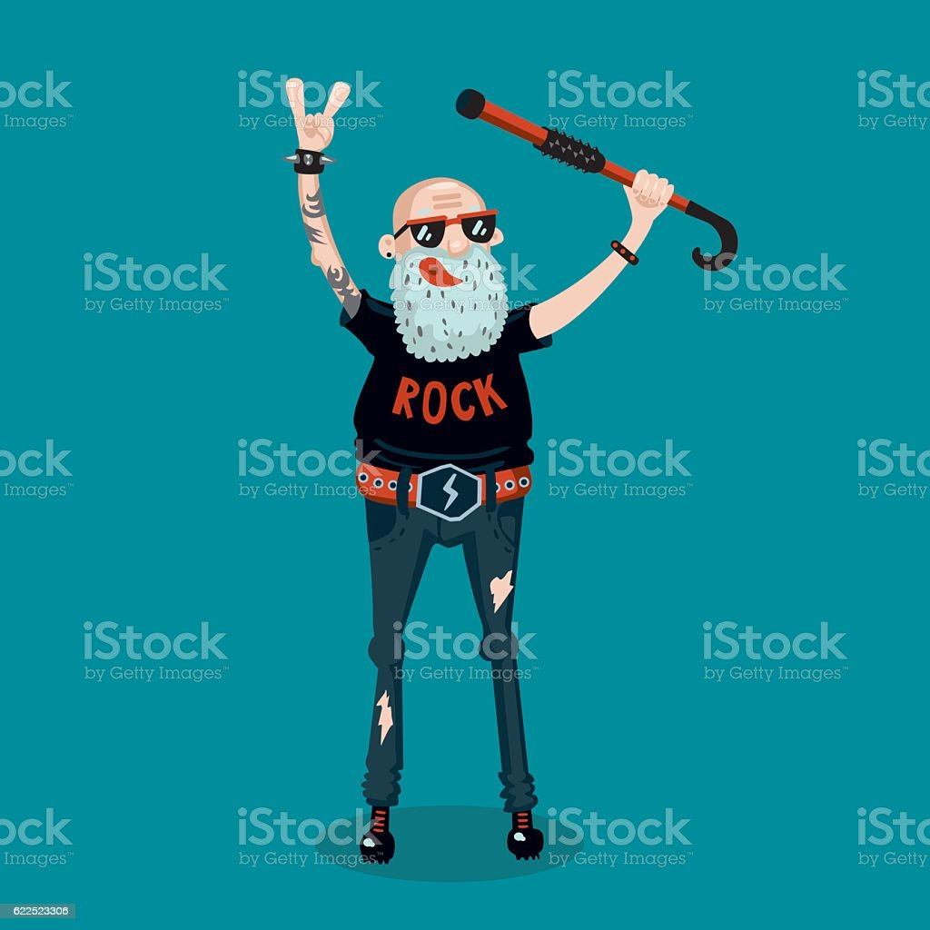Forever young. Funny old rock fan. Active senior man. vector art illustration