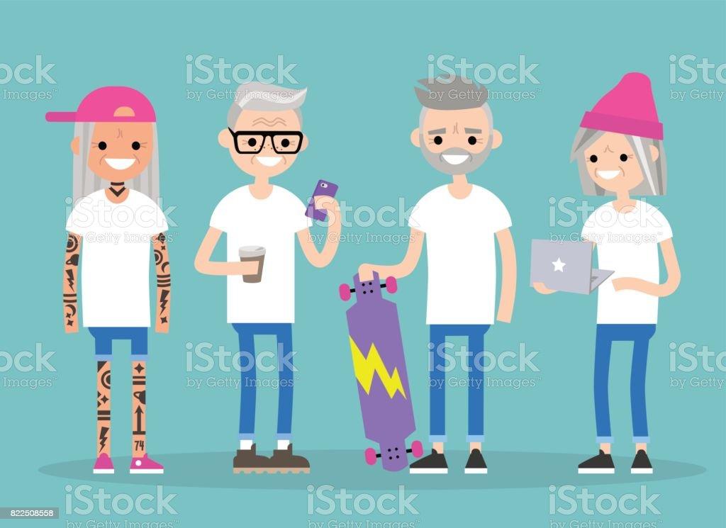 Jóvenes para siempre. Milenio en edad senior. Un grupo de personas mayores activas moda / plano editable vector Ilustración, imágenes prediseñadas - ilustración de arte vectorial