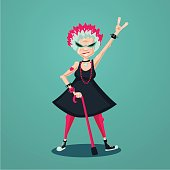 Forever young old lady. Funny old rock fan. Active senior woman. Humorous illustration.