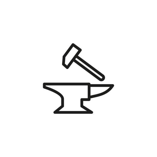 Forge line icon vector art illustration