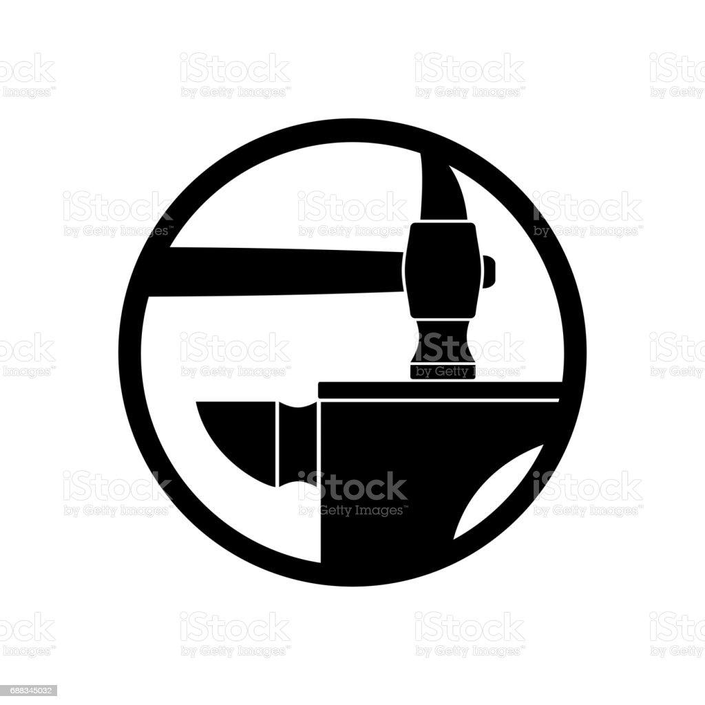 Forge smithy symbol. Hammer and anvil emblem. Vintage sign blacksmith vector art illustration
