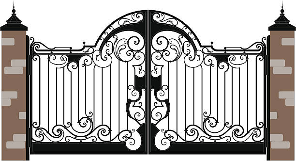 Royalty free iron gate clip art vector images