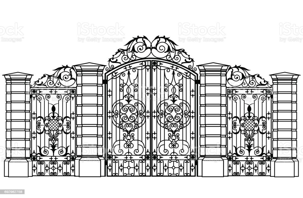forged iron gate and wiсket door vector art illustration