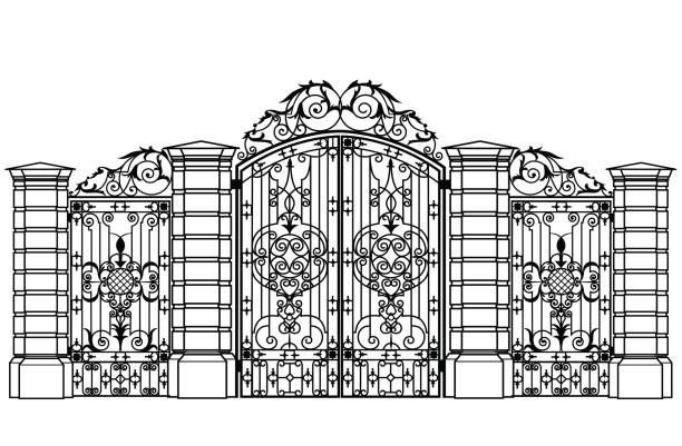 forged iron gate and wiсket door Black forged gate and wickets on a white background gate stock illustrations
